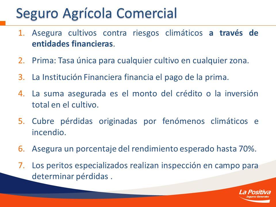 1.Asegura cultivos contra riesgos climáticos a través de entidades financieras. 2.Prima: Tasa única para cualquier cultivo en cualquier zona. 3.La Ins