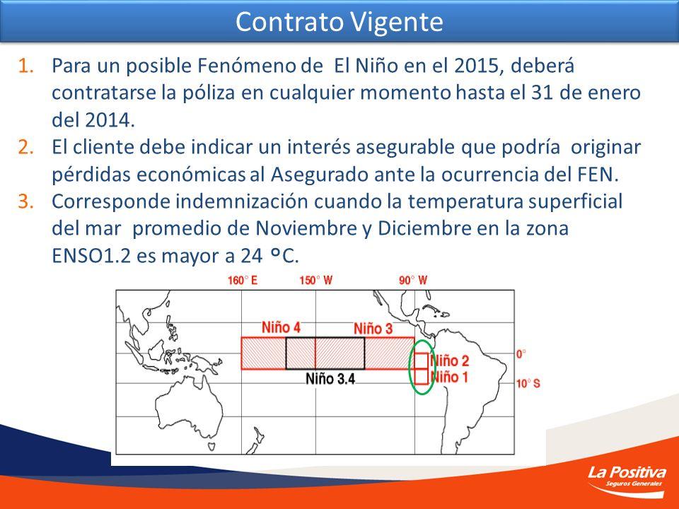 1.Para un posible Fenómeno de El Niño en el 2015, deberá contratarse la póliza en cualquier momento hasta el 31 de enero del 2014. 2.El cliente debe i