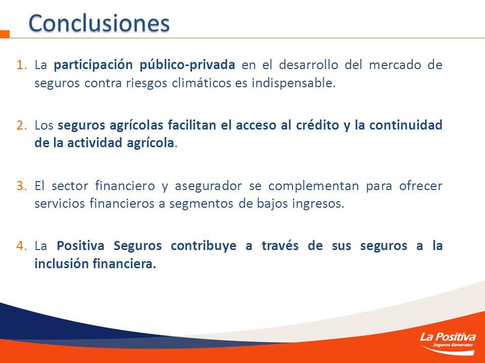 1.La participación público-privada en el desarrollo del mercado de seguros contra riesgos climáticos es indispensable. 2.Los seguros agrícolas facilit