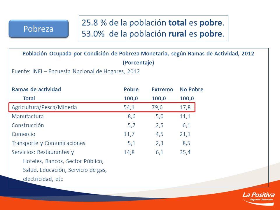 Población Ocupada por Condición de Pobreza Monetaria, según Ramas de Actividad, 2012 (Porcentaje) Fuente: INEI – Encuesta Nacional de Hogares, 2012 Ra