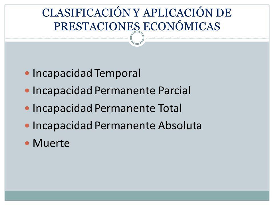 CLASIFICACIÓN Y APLICACIÓN DE PRESTACIONES ECONÓMICAS Incapacidad Temporal Incapacidad Permanente Parcial Incapacidad Permanente Total Incapacidad Per