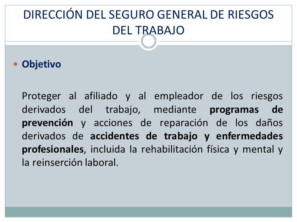 DIRECCIÓN DEL SEGURO GENERAL DE RIESGOS DEL TRABAJO Objetivo Proteger al afiliado y al empleador de los riesgos derivados del trabajo, mediante progra