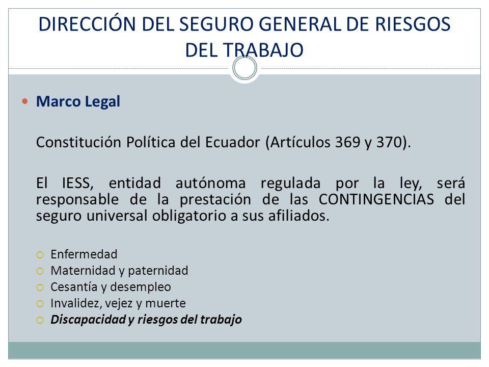 DIRECCIÓN DEL SEGURO GENERAL DE RIESGOS DEL TRABAJO Marco Legal Constitución Política del Ecuador (Artículos 369 y 370). El IESS, entidad autónoma reg