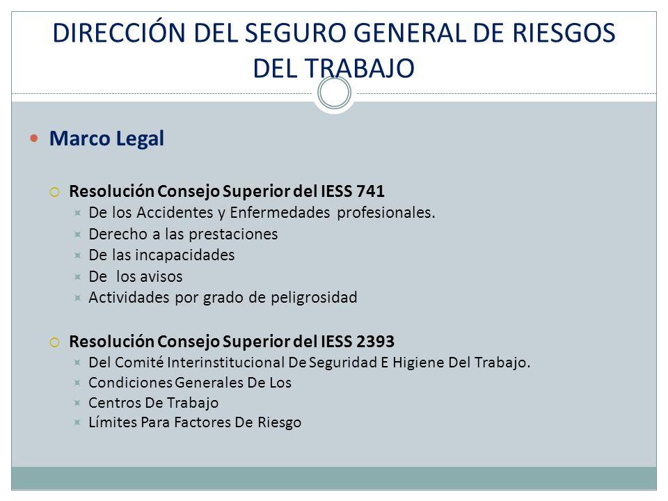 DIRECCIÓN DEL SEGURO GENERAL DE RIESGOS DEL TRABAJO Marco Legal Resolución Consejo Superior del IESS 741 De los Accidentes y Enfermedades profesionales.