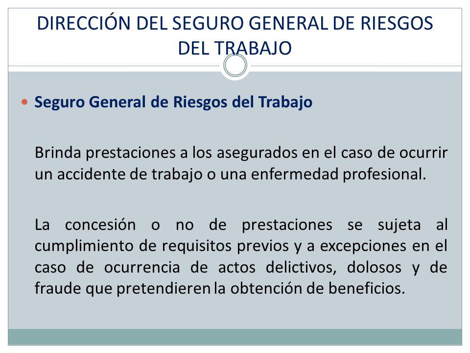 DIRECCIÓN DEL SEGURO GENERAL DE RIESGOS DEL TRABAJO Seguro General de Riesgos del Trabajo Brinda prestaciones a los asegurados en el caso de ocurrir un accidente de trabajo o una enfermedad profesional.