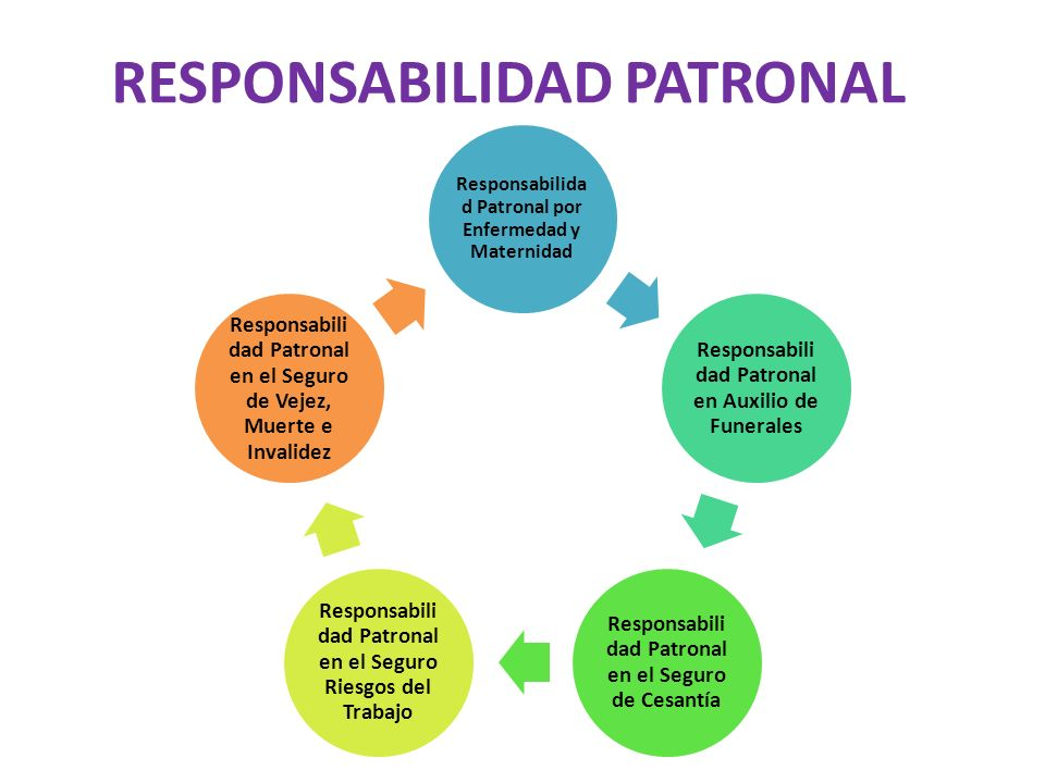RESPONSABILIDAD PATRONAL Responsabilida d Patronal por Enfermedad y Maternidad Responsabili dad Patronal en Auxilio de Funerales Responsabili dad Patr