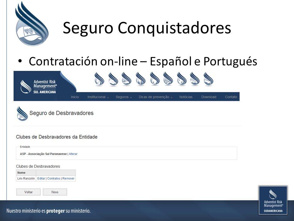 Seguro Conquistadores Contratación on-line – Español e Portugués