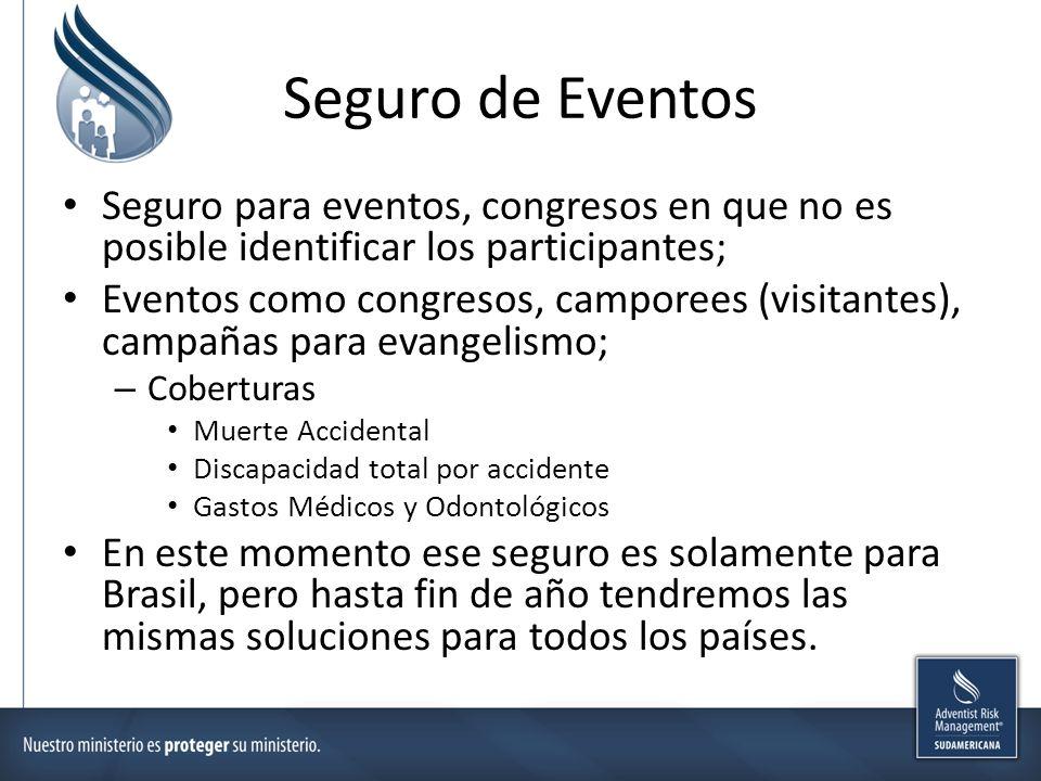 Seguro de Eventos Seguro para eventos, congresos en que no es posible identificar los participantes; Eventos como congresos, camporees (visitantes), c