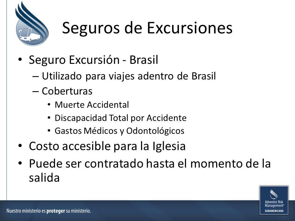 Seguros de Excursiones Seguro Excursión - Brasil – Utilizado para viajes adentro de Brasil – Coberturas Muerte Accidental Discapacidad Total por Accid