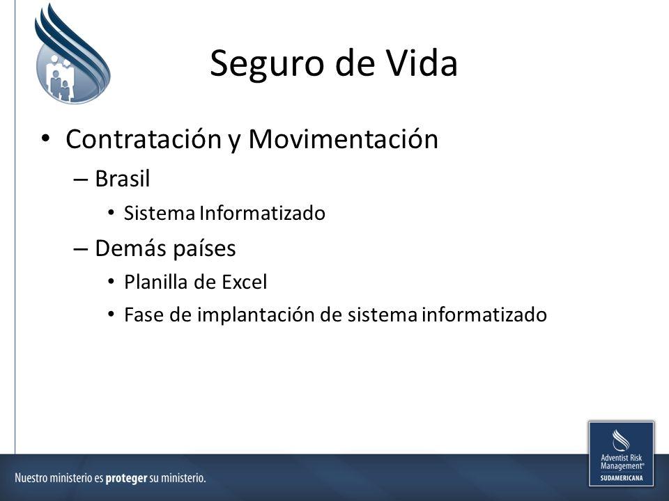 Seguro de Vida Contratación y Movimentación – Brasil Sistema Informatizado – Demás países Planilla de Excel Fase de implantación de sistema informatizado