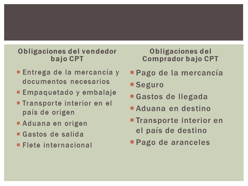 Obligaciones del vendedor bajo CPT Entrega de la mercancía y documentos necesarios Empaquetado y embalaje Transporte interior en el país de origen Adu