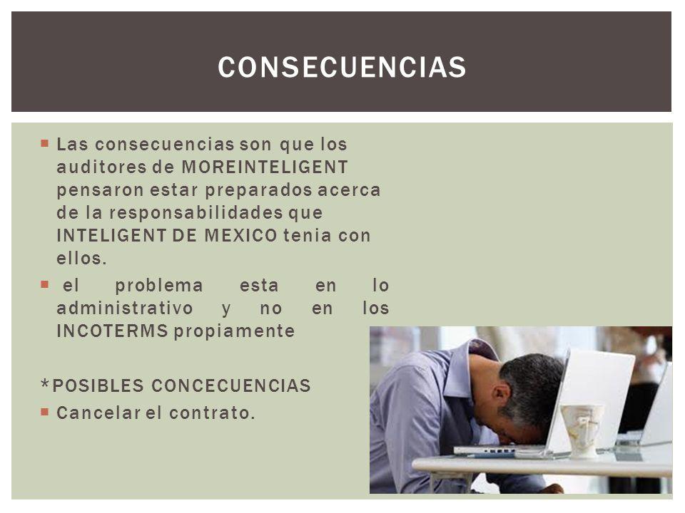 Las consecuencias son que los auditores de MOREINTELIGENT pensaron estar preparados acerca de la responsabilidades que INTELIGENT DE MEXICO tenia con ellos.
