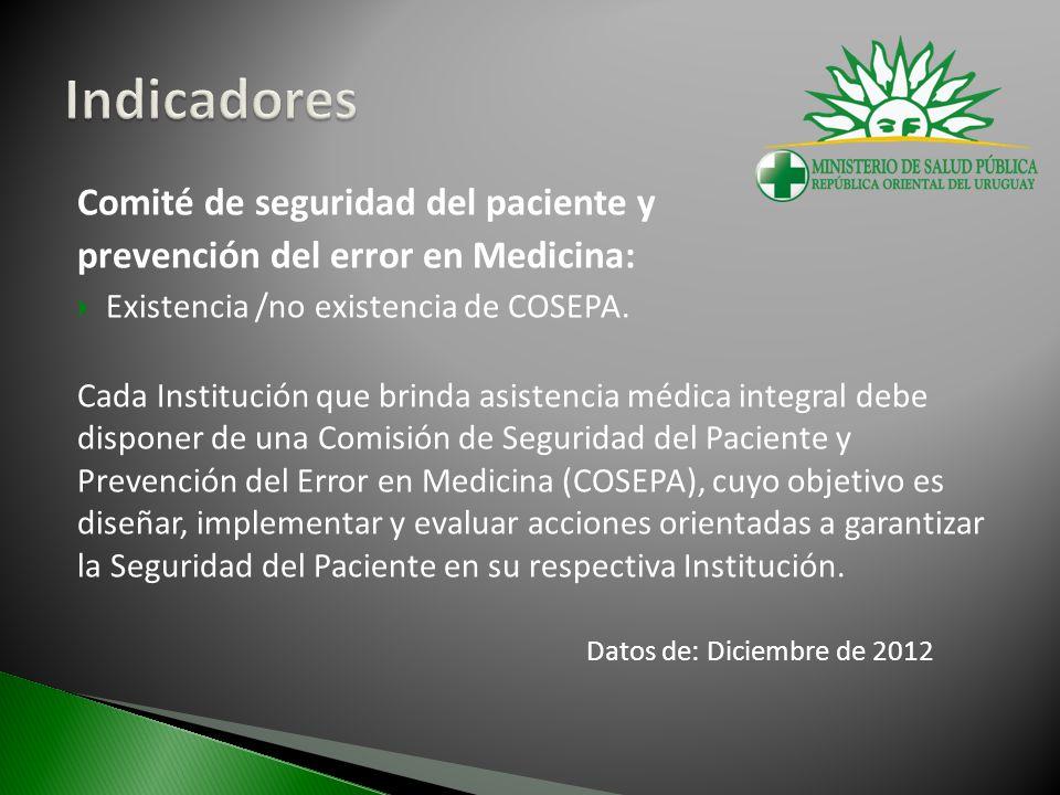 Comité de seguridad del paciente y prevención del error en Medicina: Existencia /no existencia de COSEPA. Cada Institución que brinda asistencia médic