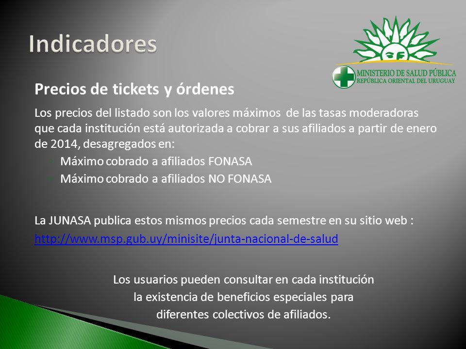 Precios de tickets y órdenes Los precios del listado son los valores máximos de las tasas moderadoras que cada institución está autorizada a cobrar a