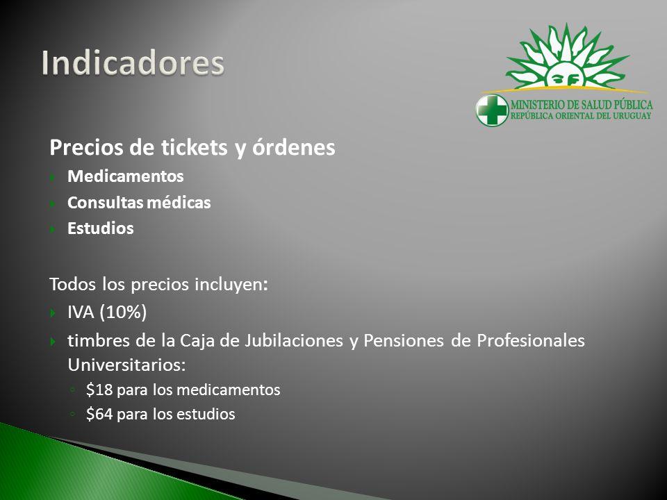 Precios de tickets y órdenes Medicamentos Consultas médicas Estudios Todos los precios incluyen: IVA (10%) timbres de la Caja de Jubilaciones y Pensiones de Profesionales Universitarios: $18 para los medicamentos $64 para los estudios