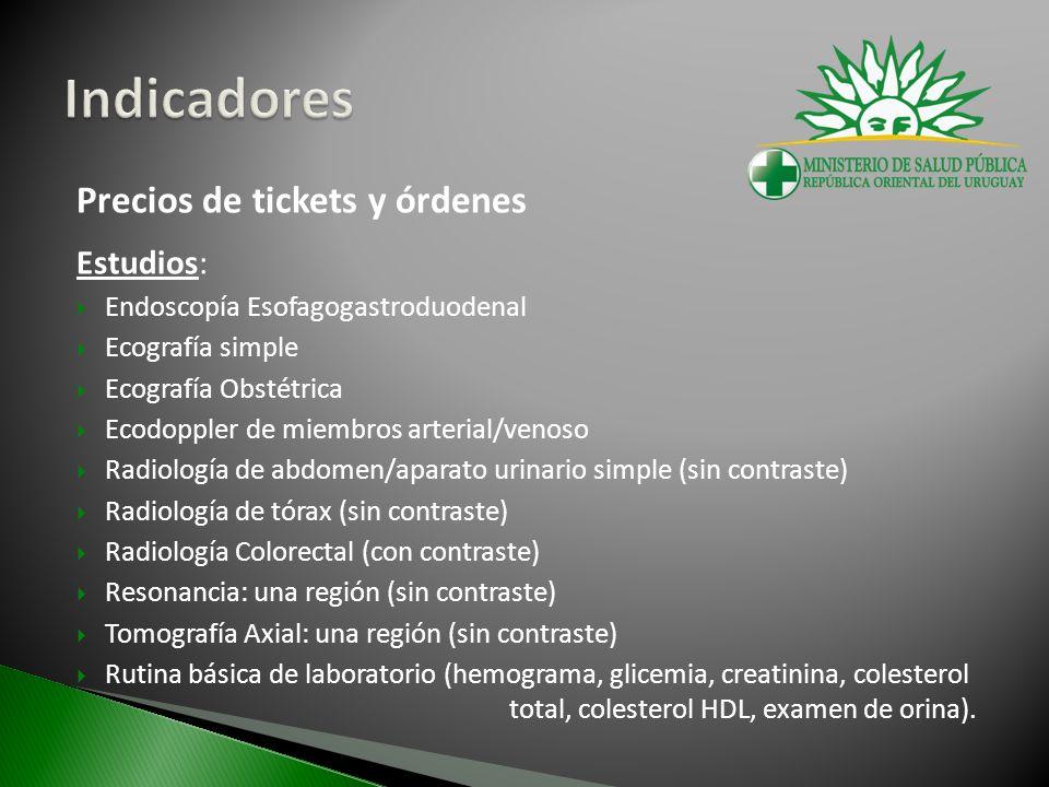 Precios de tickets y órdenes Estudios: Endoscopía Esofagogastroduodenal Ecografía simple Ecografía Obstétrica Ecodoppler de miembros arterial/venoso R