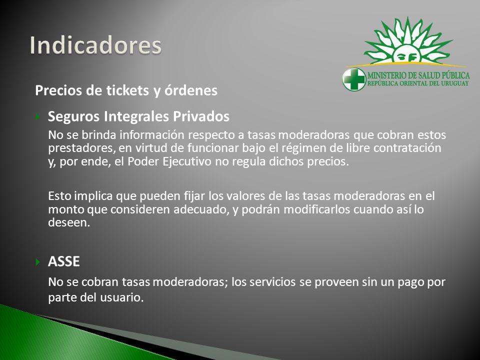 Precios de tickets y órdenes Seguros Integrales Privados No se brinda información respecto a tasas moderadoras que cobran estos prestadores, en virtud