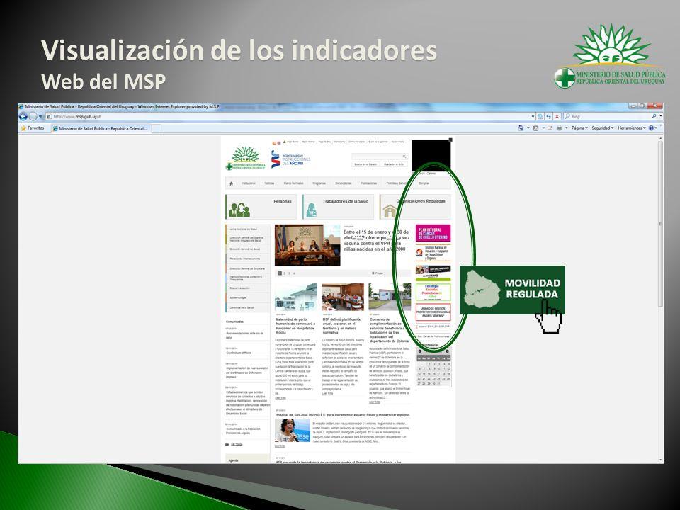 Visualización de los indicadores Web del MSP