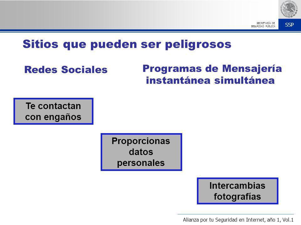 SSP SECRETARÍA DE SEGURIDAD PÚBLICA Redes Sociales Programas de Mensajería instantánea simultánea Te contactan con engaños Intercambias fotografías Pr