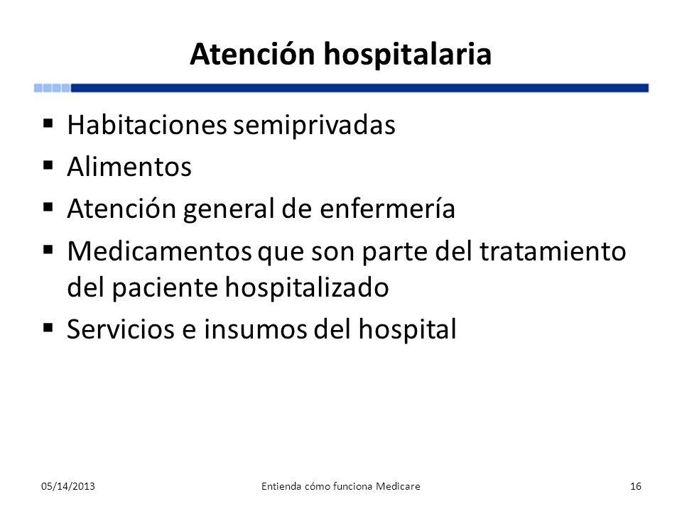 Atención hospitalaria Habitaciones semiprivadas Alimentos Atención general de enfermería Medicamentos que son parte del tratamiento del paciente hospi