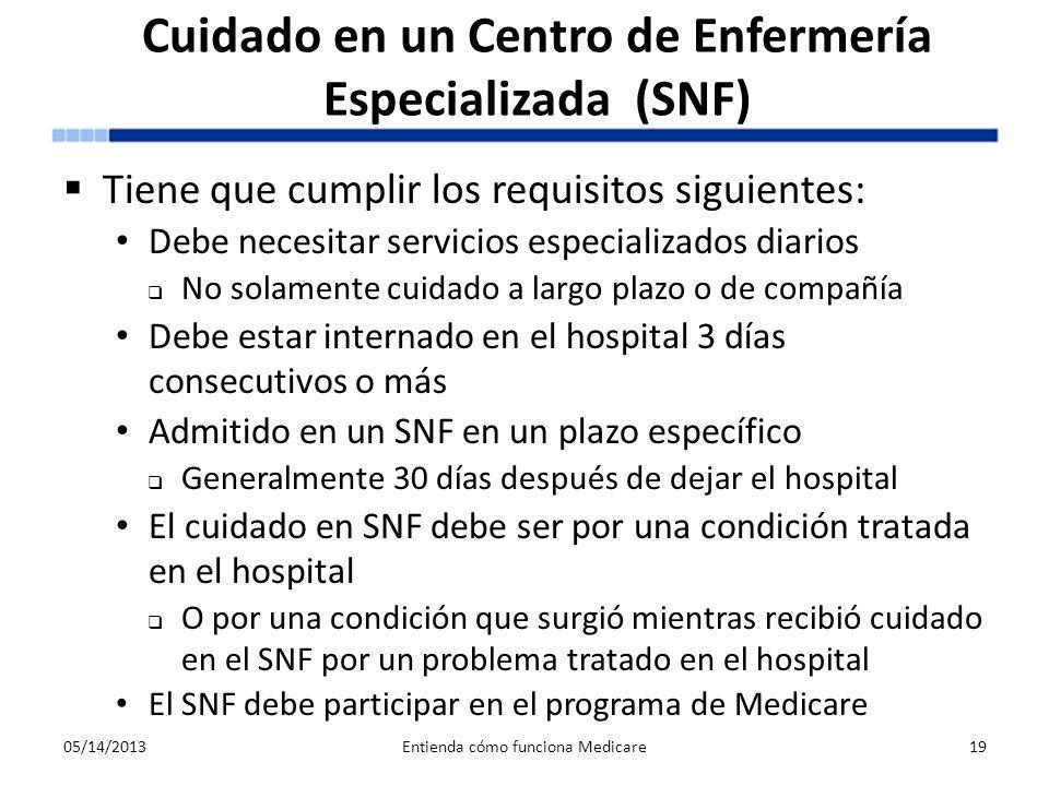 Cuidado en un Centro de Enfermería Especializada (SNF) Tiene que cumplir los requisitos siguientes: Debe necesitar servicios especializados diarios No