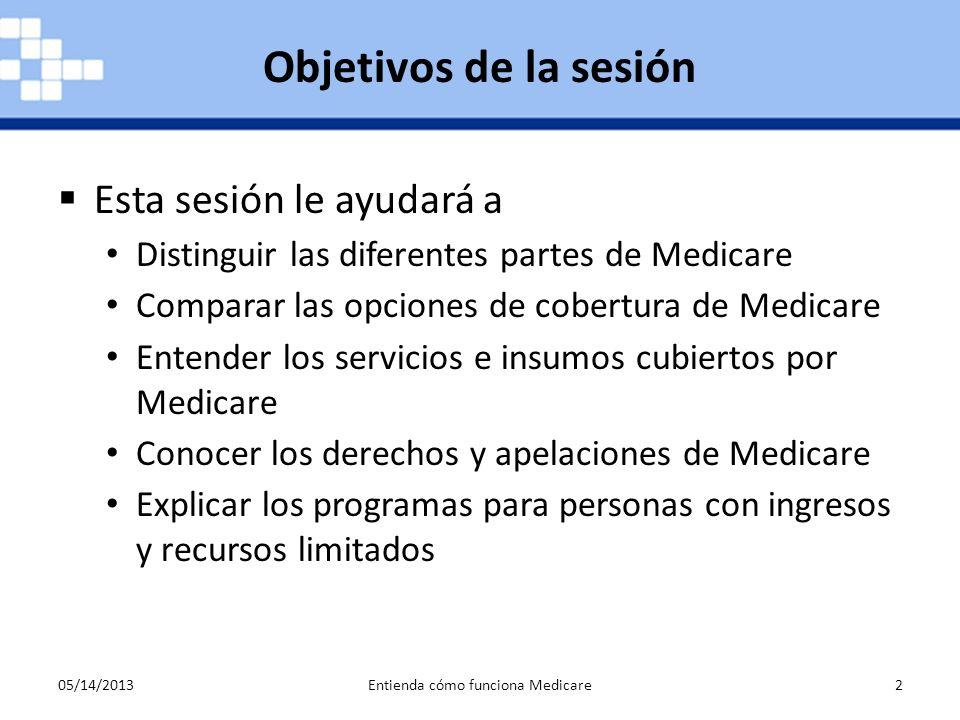 05/14/2013Entienda cómo funciona Medicare2 Esta sesión le ayudará a Distinguir las diferentes partes de Medicare Comparar las opciones de cobertura de