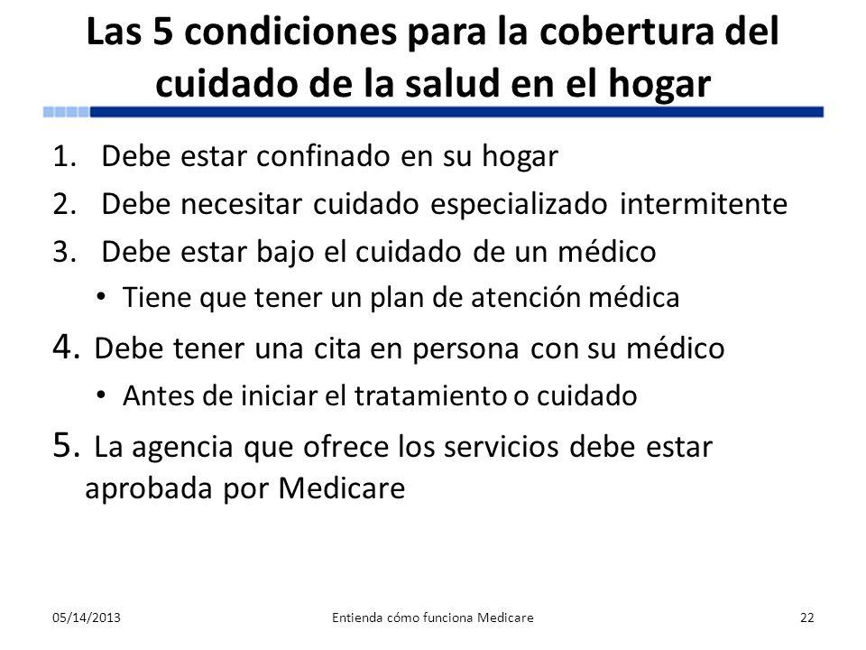 Las 5 condiciones para la cobertura del cuidado de la salud en el hogar 1.Debe estar confinado en su hogar 2.Debe necesitar cuidado especializado inte