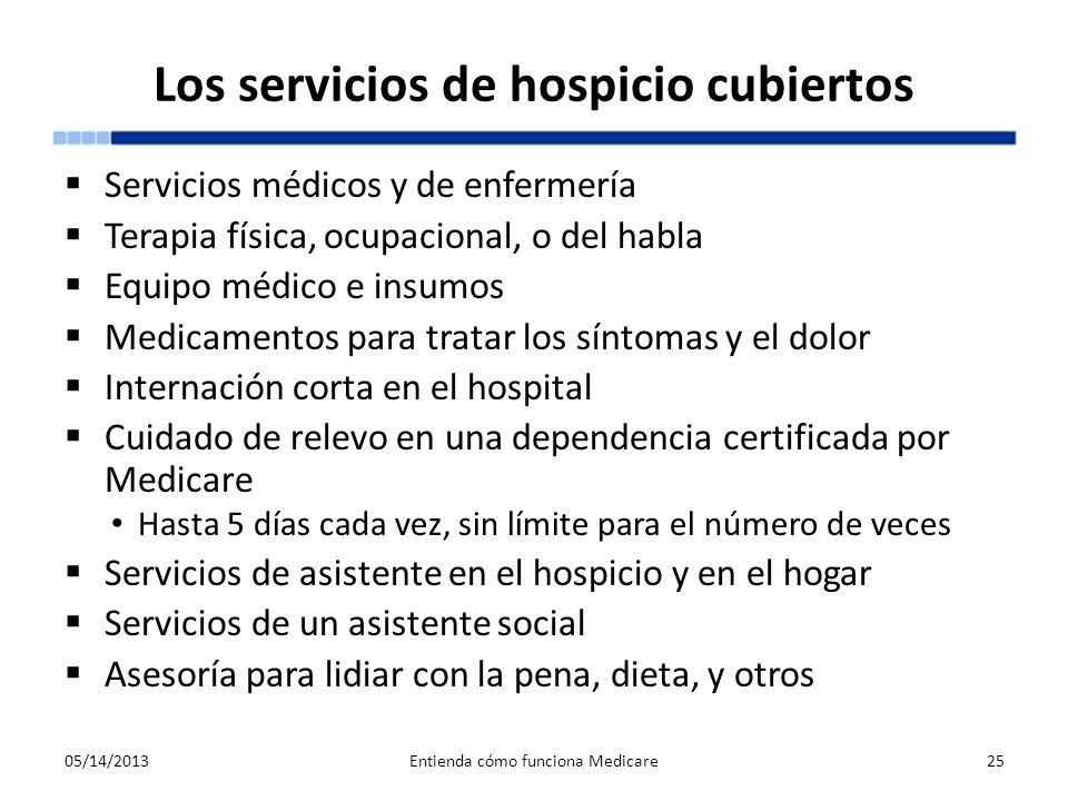 Los servicios de hospicio cubiertos Servicios médicos y de enfermería Terapia física, ocupacional, o del habla Equipo médico e insumos Medicamentos pa