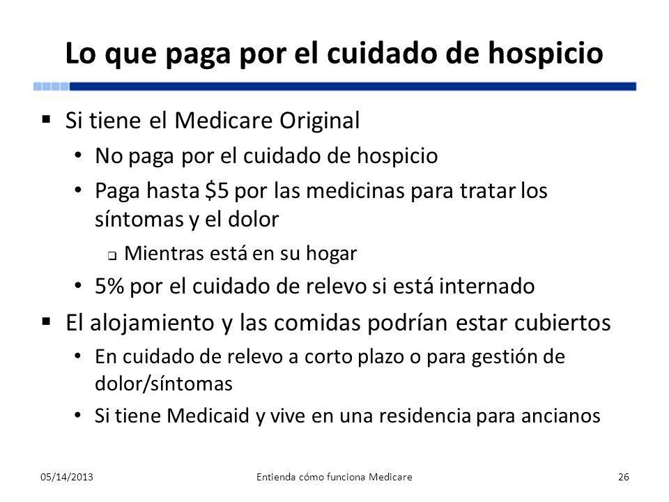 Lo que paga por el cuidado de hospicio Si tiene el Medicare Original No paga por el cuidado de hospicio Paga hasta $5 por las medicinas para tratar lo