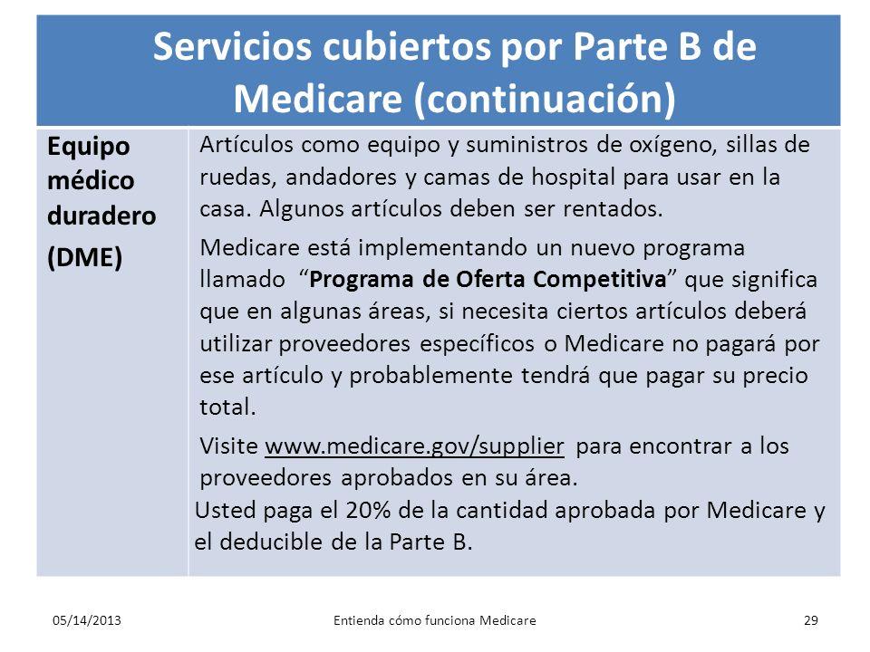 05/14/2013Entienda cómo funciona Medicare29 Servicios cubiertos por Parte B de Medicare (continuación) Equipo médico duradero (DME) Artículos como equ