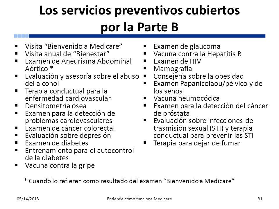 Los servicios preventivos cubiertos por la Parte B Visita Bienvenido a Medicare Visita anual de Bienestar Examen de Aneurisma Abdominal Aórtico * Eval