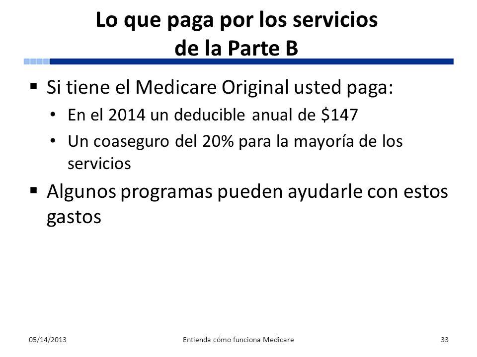 Lo que paga por los servicios de la Parte B Si tiene el Medicare Original usted paga: En el 2014 un deducible anual de $147 Un coaseguro del 20% para