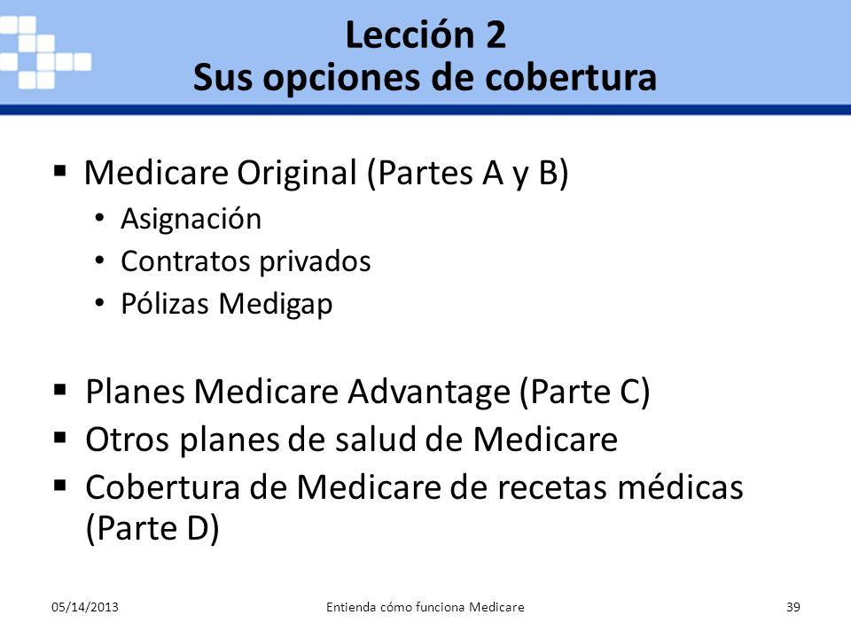 05/14/2013Entienda cómo funciona Medicare39 Medicare Original (Partes A y B) Asignación Contratos privados Pólizas Medigap Planes Medicare Advantage (