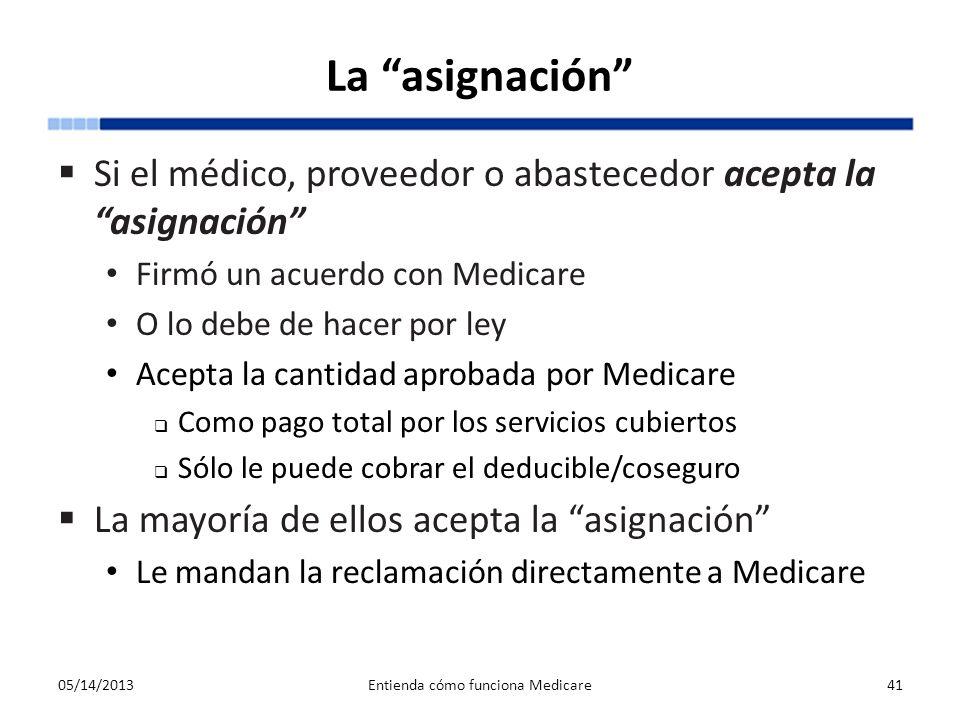La asignación Si el médico, proveedor o abastecedor acepta la asignación Firmó un acuerdo con Medicare O lo debe de hacer por ley Acepta la cantidad a