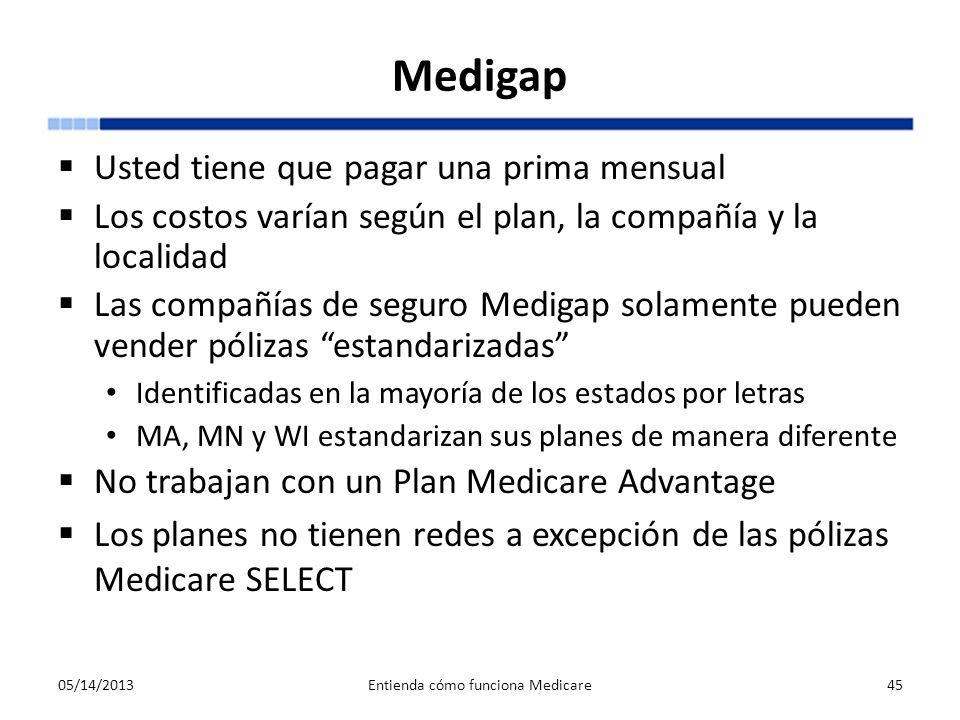 Medigap Usted tiene que pagar una prima mensual Los costos varían según el plan, la compañía y la localidad Las compañías de seguro Medigap solamente
