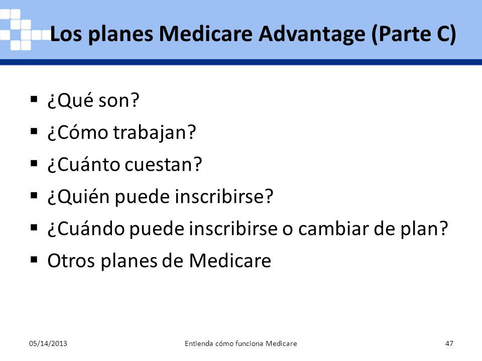 05/14/2013Entienda cómo funciona Medicare47 ¿Qué son? ¿Cómo trabajan? ¿Cuánto cuestan? ¿Quién puede inscribirse? ¿Cuándo puede inscribirse o cambiar d