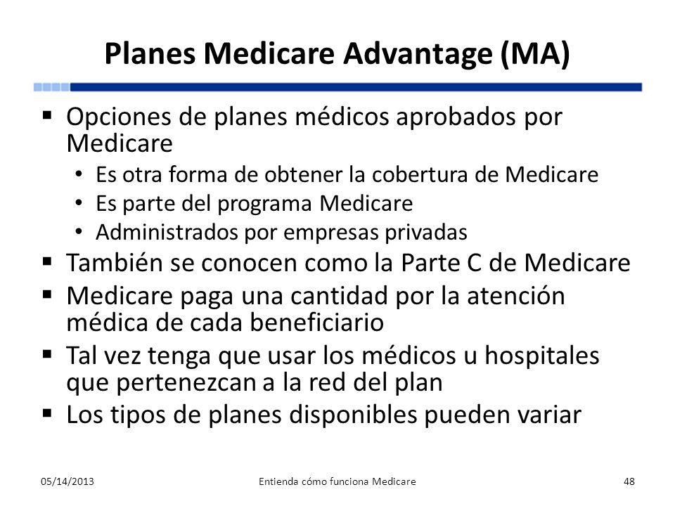 Planes Medicare Advantage (MA) Opciones de planes médicos aprobados por Medicare Es otra forma de obtener la cobertura de Medicare Es parte del progra