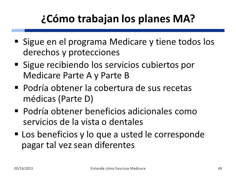 ¿Cómo trabajan los planes MA? Sigue en el programa Medicare y tiene todos los derechos y protecciones Sigue recibiendo los servicios cubiertos por Med