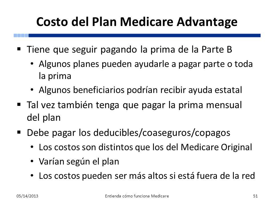 Costo del Plan Medicare Advantage Tiene que seguir pagando la prima de la Parte B Algunos planes pueden ayudarle a pagar parte o toda la prima Algunos