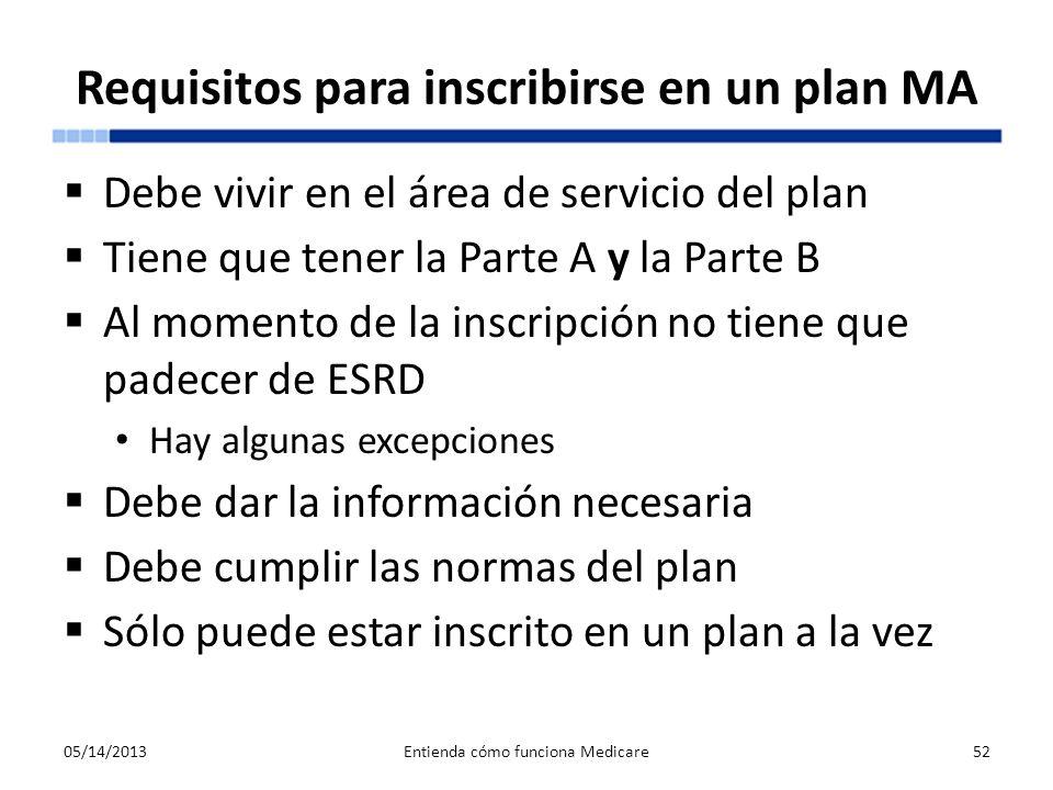 Requisitos para inscribirse en un plan MA Debe vivir en el área de servicio del plan Tiene que tener la Parte A y la Parte B Al momento de la inscripc