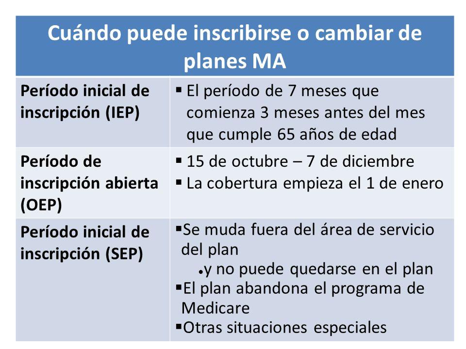 05/14/2013Entienda cómo funciona Medicare53 Cuándo puede inscribirse o cambiar de planes MA Período inicial de inscripción (IEP) El período de 7 meses