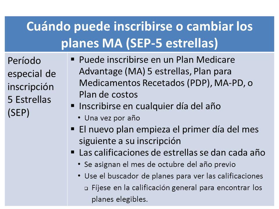 05/14/2013Entienda cómo funciona Medicare54 Cuándo puede inscribirse o cambiar los planes MA (SEP-5 estrellas) Período especial de inscripción 5 Estre