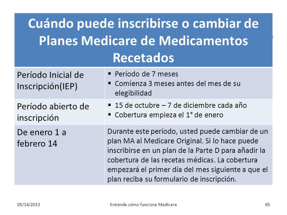 Cuándo puede inscribirse o cambiar de Planes Medicare de Medicamentos Recetados Período Inicial de Inscripción(IEP) Período de 7 meses Comienza 3 mese