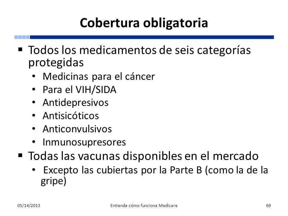 Cobertura obligatoria Todos los medicamentos de seis categorías protegidas Medicinas para el cáncer Para el VIH/SIDA Antidepresivos Antisicóticos Anti