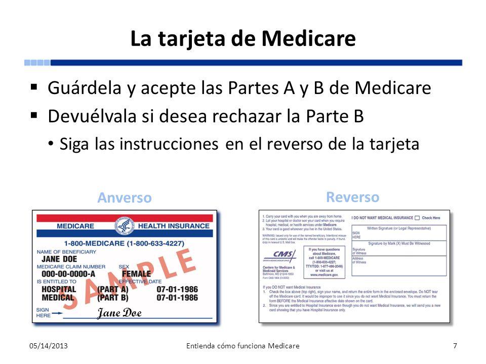 La tarjeta de Medicare Guárdela y acepte las Partes A y B de Medicare Devuélvala si desea rechazar la Parte B Siga las instrucciones en el reverso de