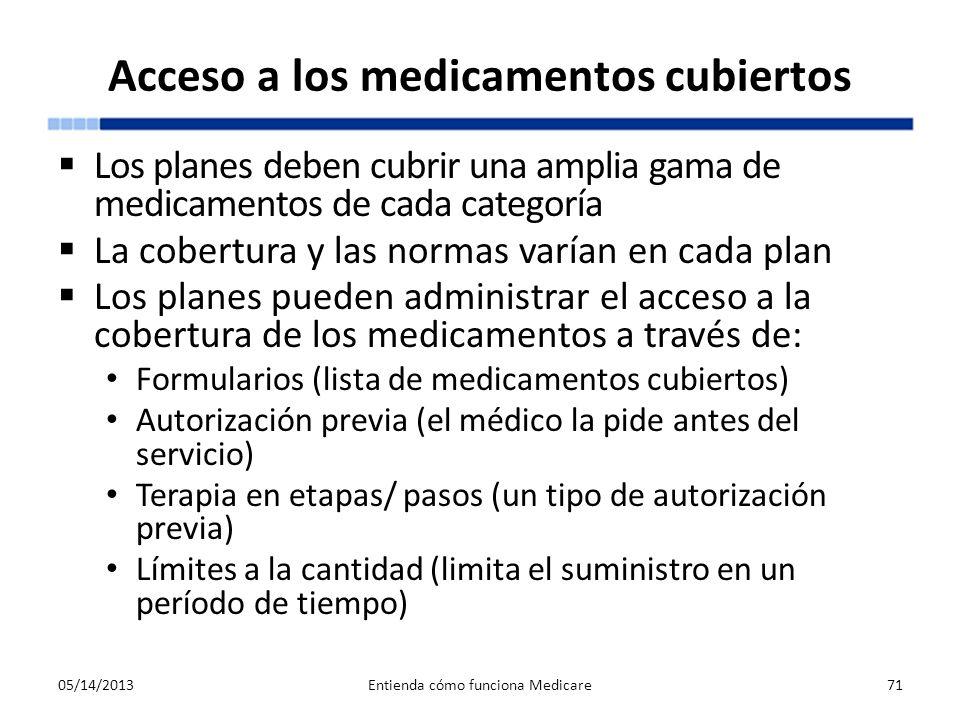 Acceso a los medicamentos cubiertos Los planes deben cubrir una amplia gama de medicamentos de cada categoría La cobertura y las normas varían en cada