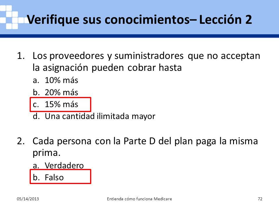 05/14/2013Entienda cómo funciona Medicare72 1.Los proveedores y suministradores que no acceptan la asignación pueden cobrar hasta a.10% más b.20% más