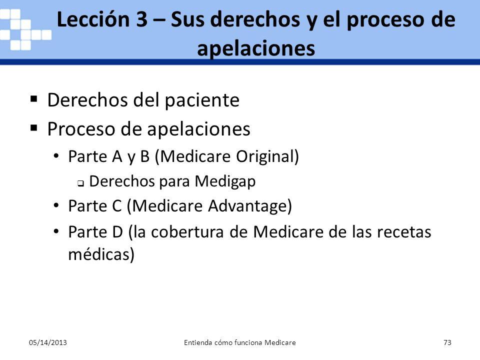 05/14/2013Entienda cómo funciona Medicare73 Derechos del paciente Proceso de apelaciones Parte A y B (Medicare Original) Derechos para Medigap Parte C