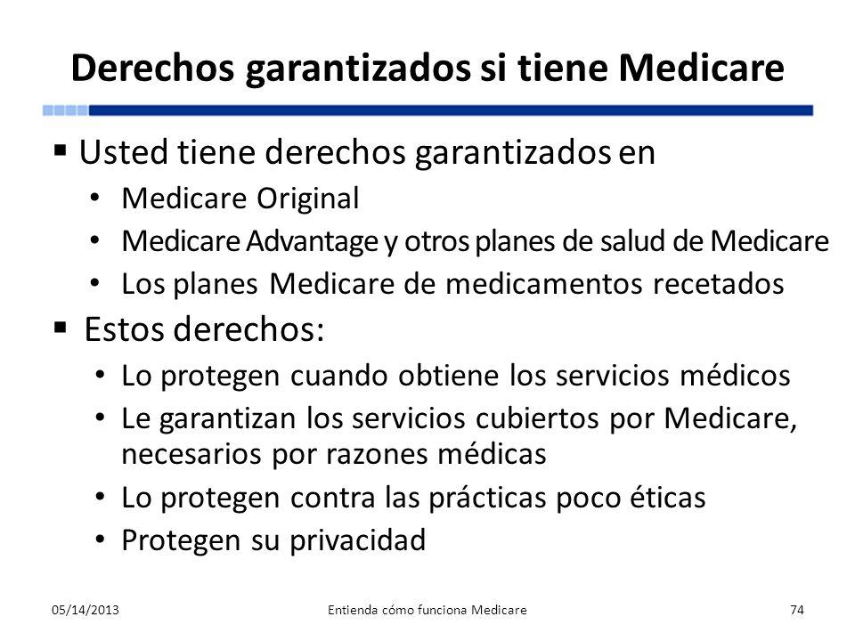 Derechos garantizados si tiene Medicare Usted tiene derechos garantizados en Medicare Original Medicare Advantage y otros planes de salud de Medicare
