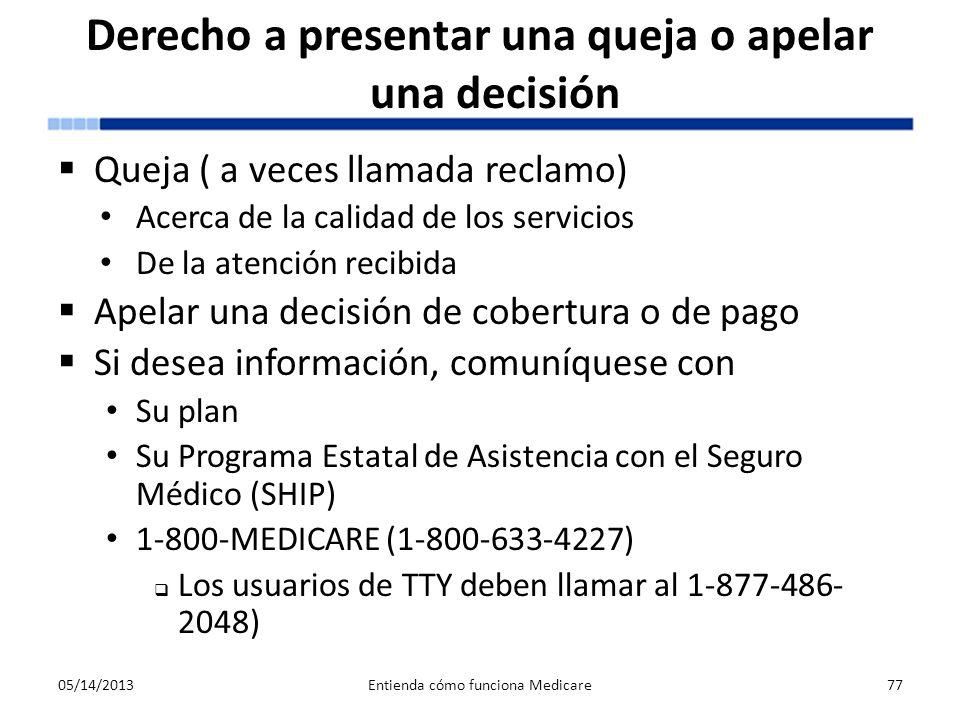 Derecho a presentar una queja o apelar una decisión Queja ( a veces llamada reclamo) Acerca de la calidad de los servicios De la atención recibida Ape